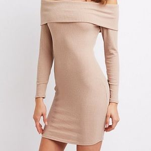 Nude ribbed off the shoulder dress